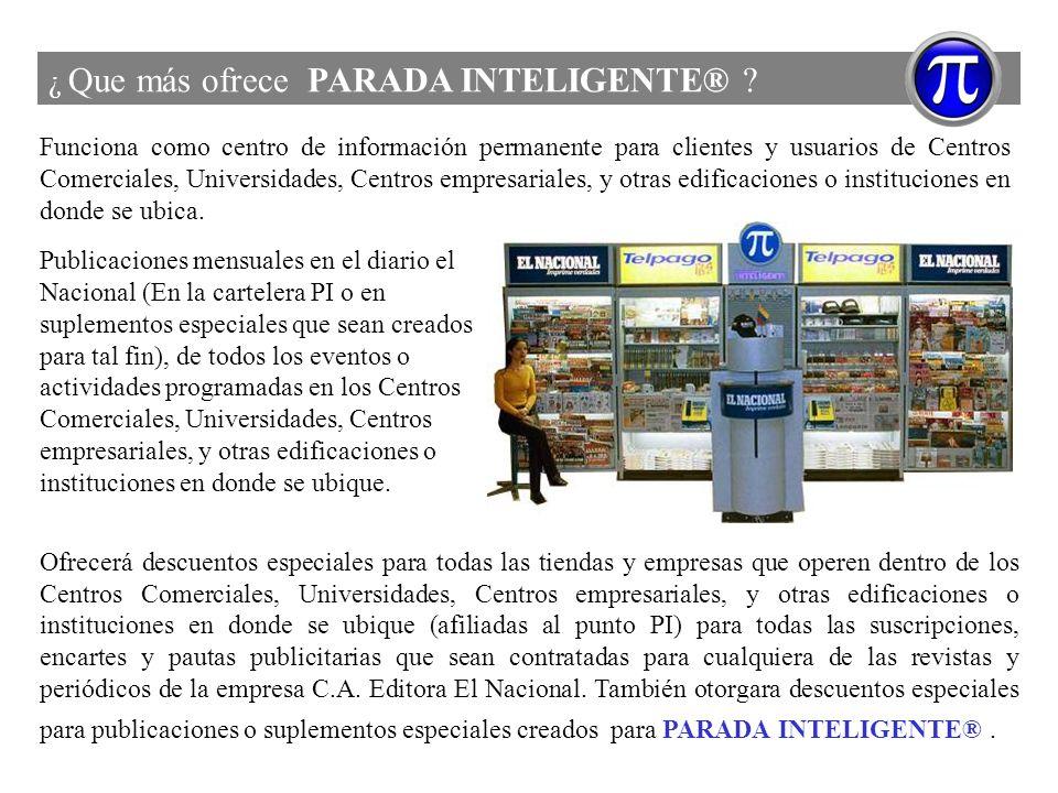 ¿ Que más ofrece PARADA INTELIGENTE® ? Funciona como centro de información permanente para clientes y usuarios de Centros Comerciales, Universidades,