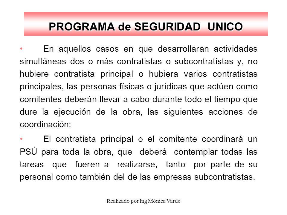 Realizado por Ing Mónica Vardé PROGRAMA de SEGURIDAD UNICO En aquellos casos en que desarrollaran actividades simultáneas dos o más contratistas o sub