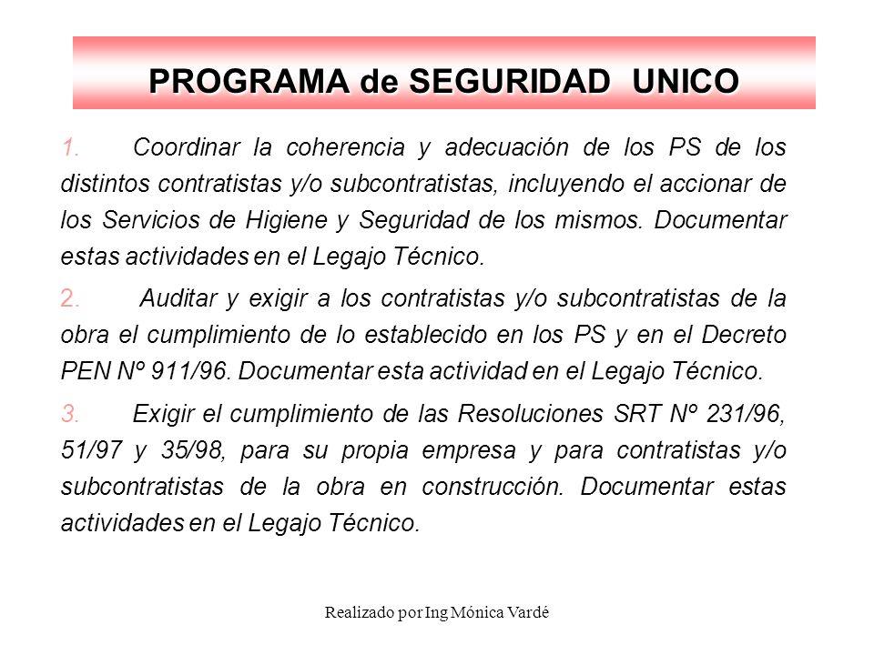 Realizado por Ing Mónica Vardé PROGRAMA de SEGURIDAD UNICO 1.Coordinar la coherencia y adecuación de los PS de los distintos contratistas y/o subcontr