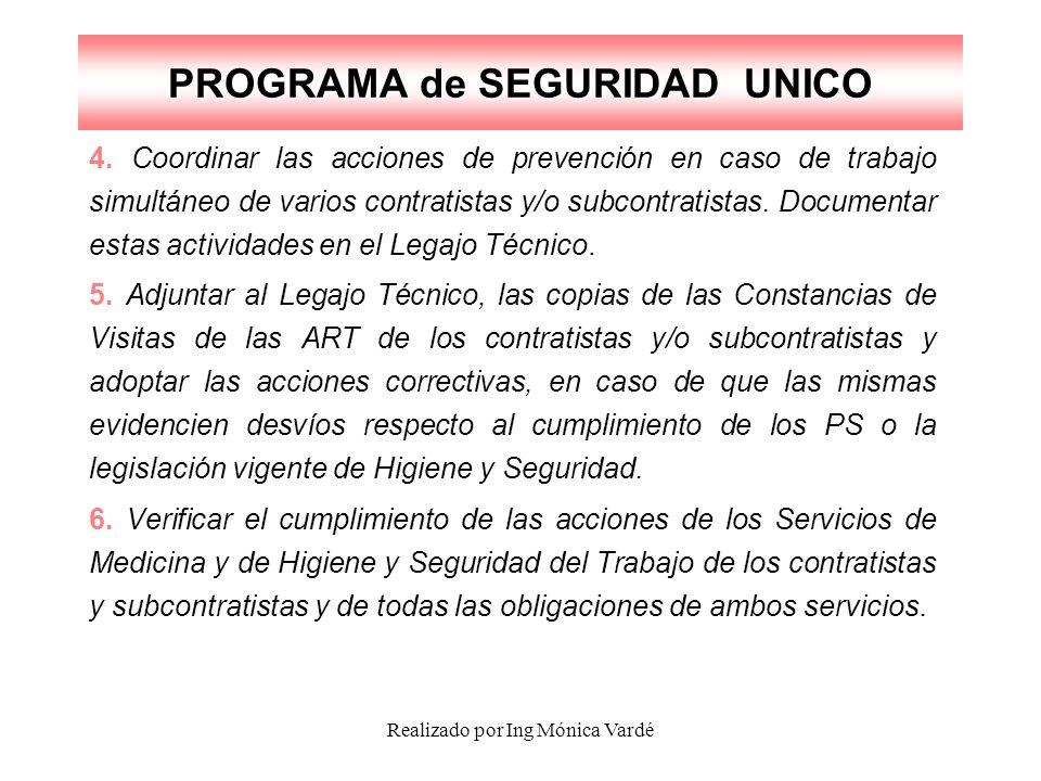 Realizado por Ing Mónica Vardé PROGRAMA de SEGURIDAD UNICO 4. Coordinar las acciones de prevención en caso de trabajo simultáneo de varios contratista