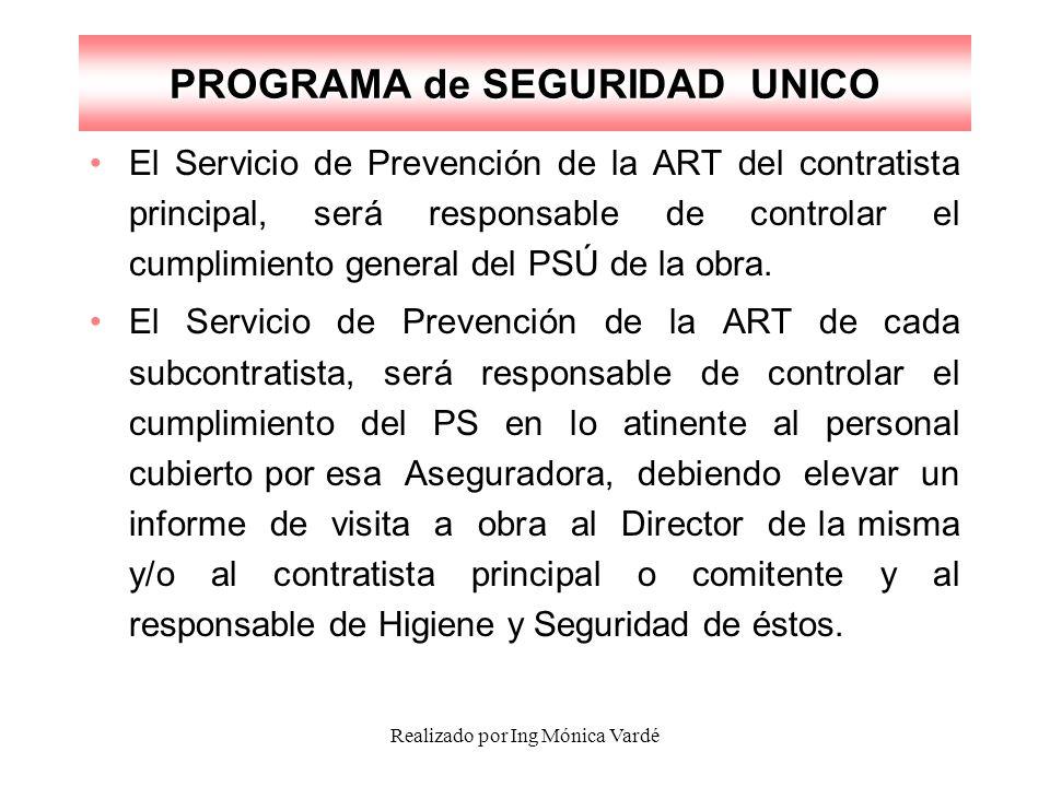 Realizado por Ing Mónica Vardé PROGRAMA de SEGURIDAD UNICO El Servicio de Prevención de la ART del contratista principal, será responsable de controla