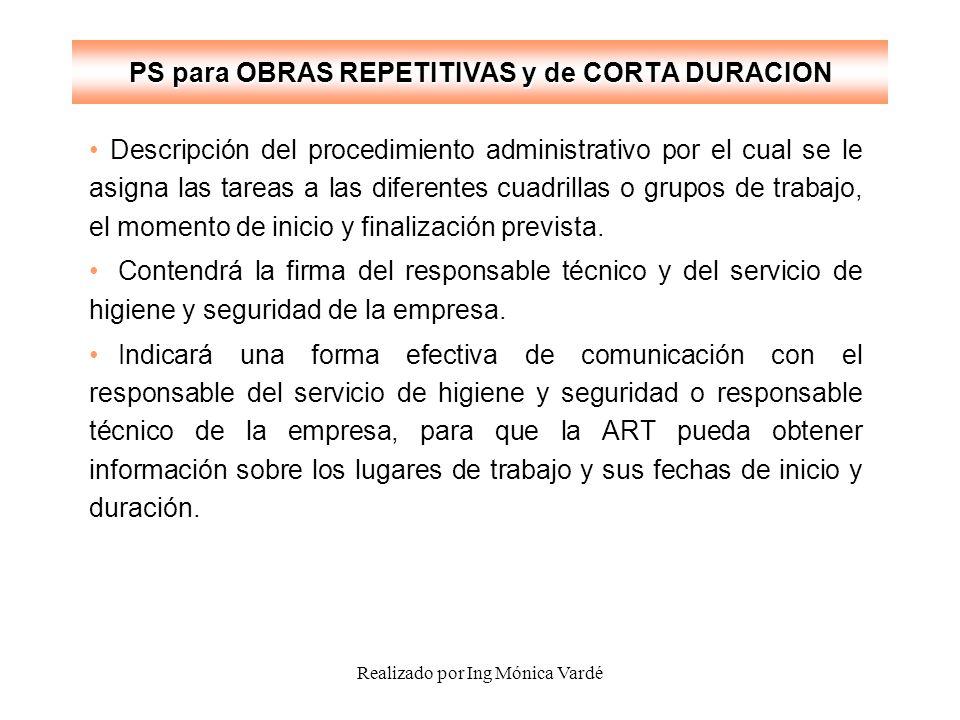 Realizado por Ing Mónica Vardé PS para OBRAS REPETITIVAS y de CORTA DURACION Descripción del procedimiento administrativo por el cual se le asigna las