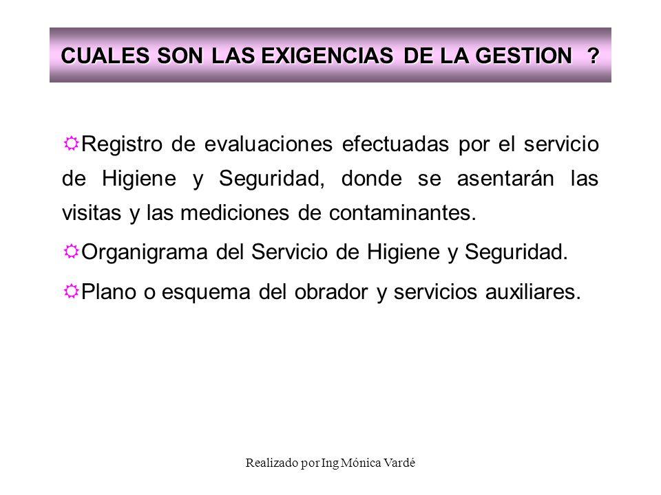Realizado por Ing Mónica Vardé CUALES SON LAS EXIGENCIAS DE LA GESTION ? Registro de evaluaciones efectuadas por el servicio de Higiene y Seguridad, d