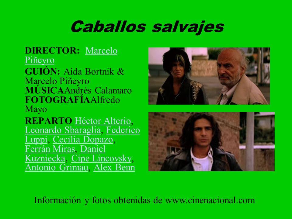Caballos salvajes DIRECTOR: Marcelo PiñeyroMarcelo Piñeyro GUIÓN: Aída Bortnik & Marcelo Piñeyro MÚSICAAndrés Calamaro FOTOGRAFÍAAlfredo Mayo REPARTO