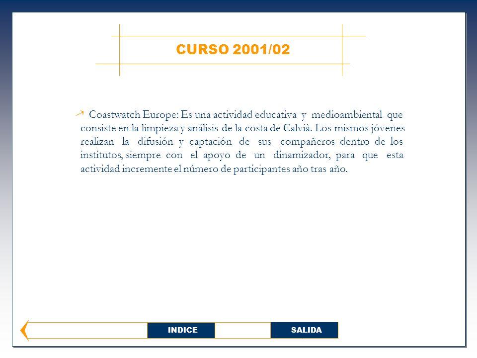 CURSO 2001/02 Coastwatch Europe: Es una actividad educativa y medioambiental que consiste en la limpieza y análisis de la costa de Calvià.