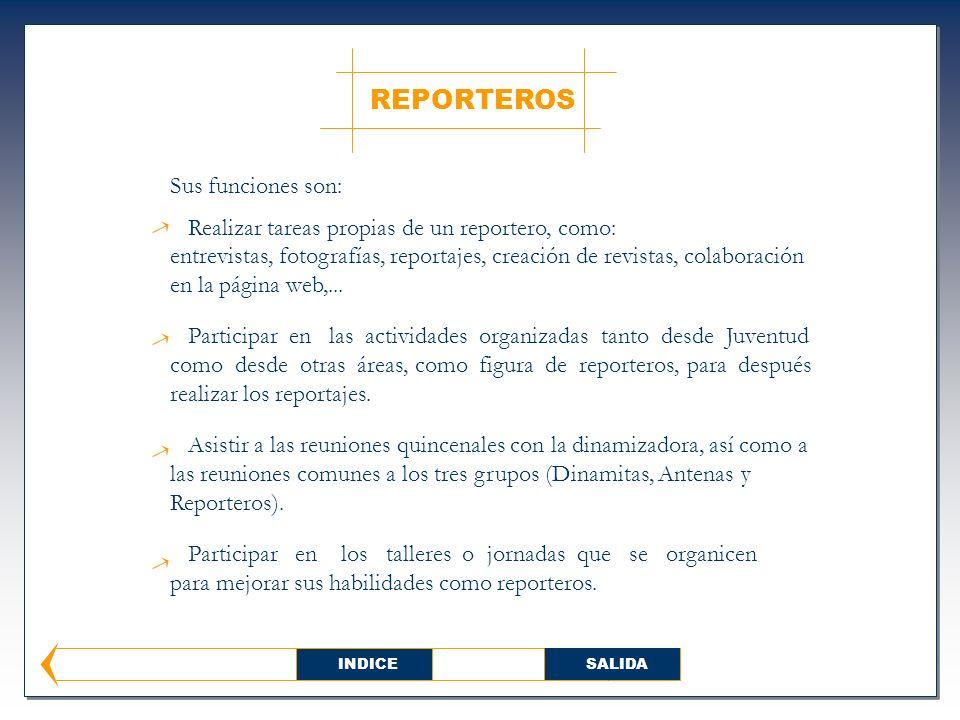 REPORTEROS Sus funciones son: Realizar tareas propias de un reportero, como: entrevistas, fotografías, reportajes, creación de revistas, colaboración en la página web,...