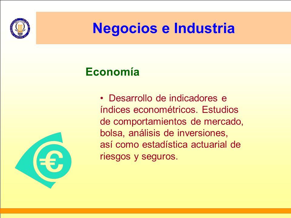 Negocios e Industria Economía Desarrollo de indicadores e índices econométricos. Estudios de comportamientos de mercado, bolsa, análisis de inversione