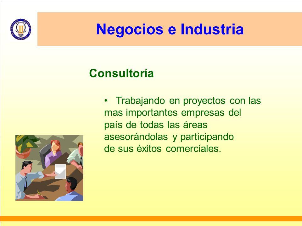Negocios e Industria Consultoría Trabajando en proyectos con las mas importantes empresas del país de todas las áreas asesorándolas y participando de