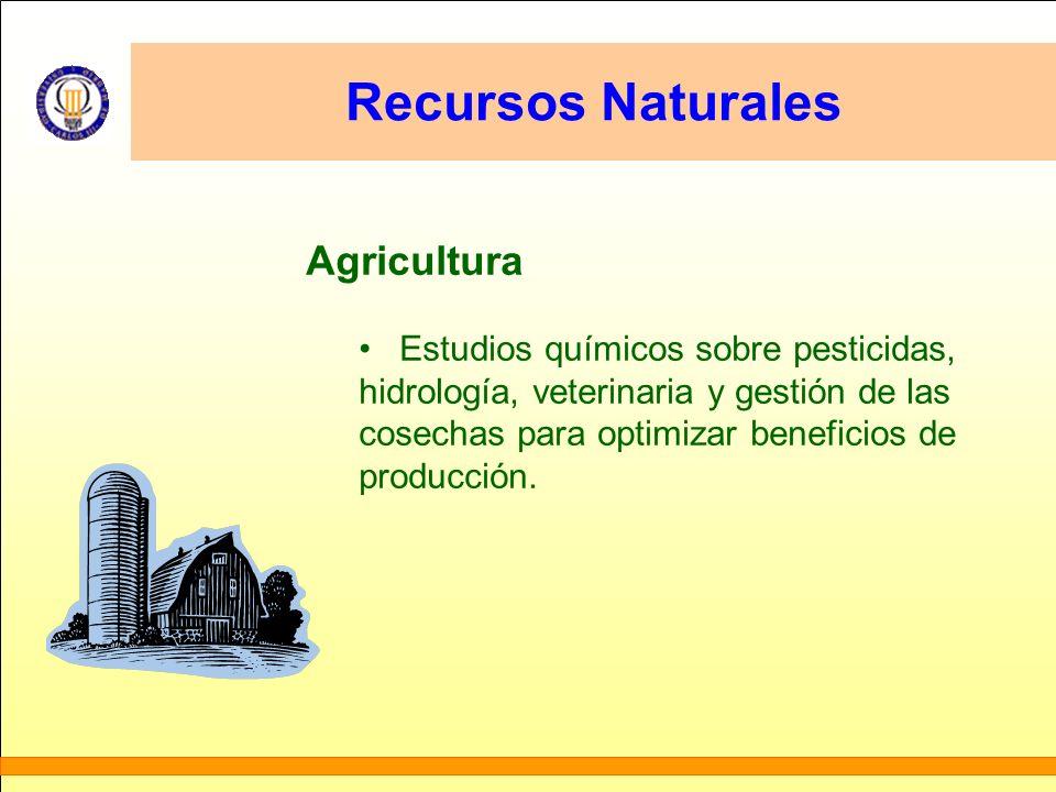 Recursos Naturales Agricultura Estudios químicos sobre pesticidas, hidrología, veterinaria y gestión de las cosechas para optimizar beneficios de prod