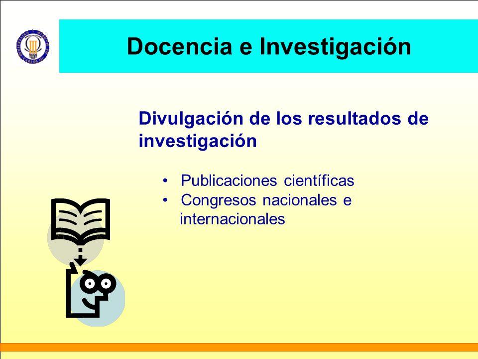 Docencia e Investigación Divulgación de los resultados de investigación Publicaciones científicas Congresos nacionales e internacionales