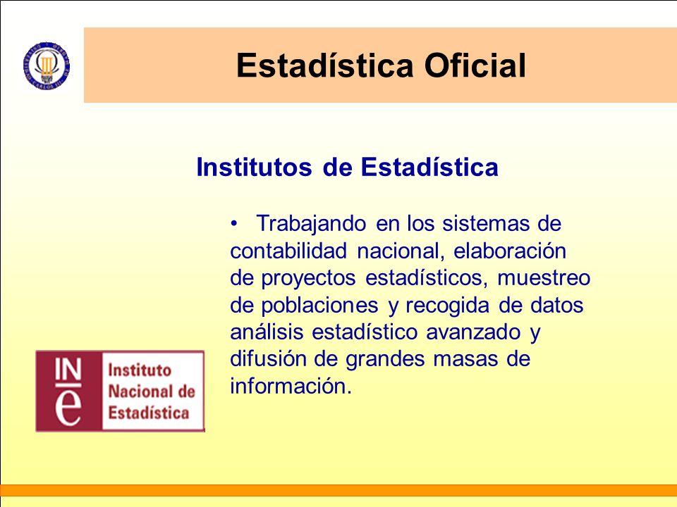 Estadística Oficial Institutos de Estadística Trabajando en los sistemas de contabilidad nacional, elaboración de proyectos estadísticos, muestreo de