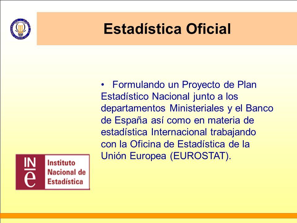 Estadística Oficial Formulando un Proyecto de Plan Estadístico Nacional junto a los departamentos Ministeriales y el Banco de España así como en mater