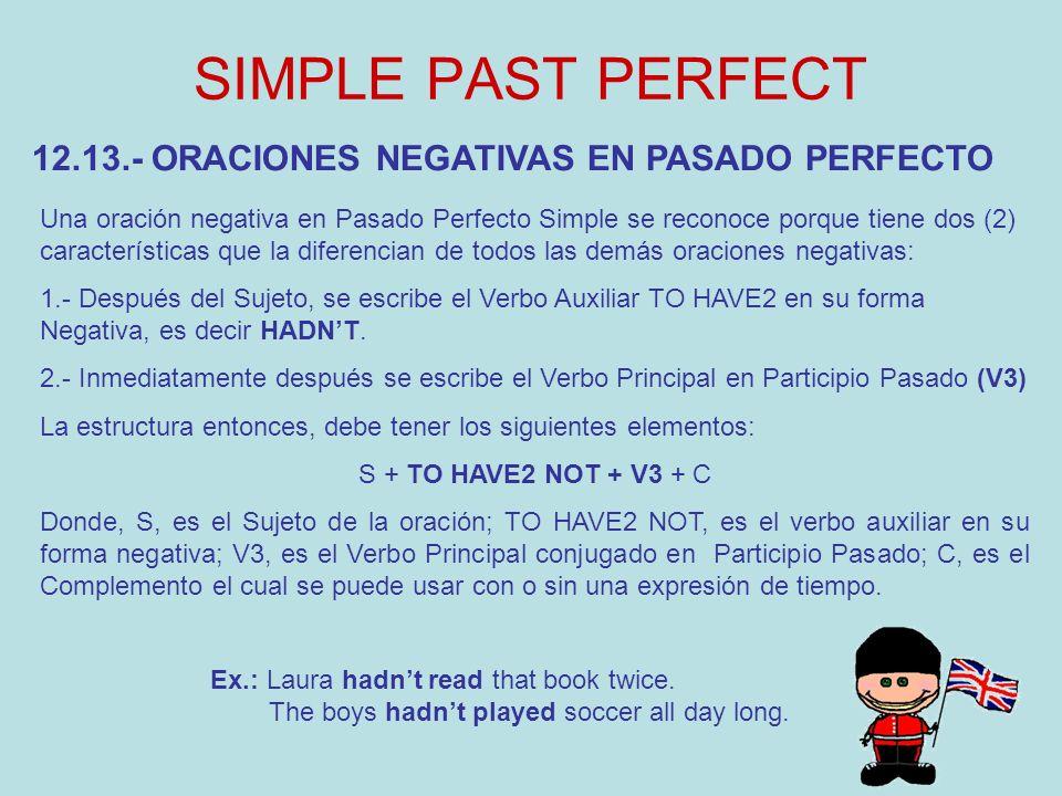 SIMPLE PAST PERFECT 12.13.- ORACIONES NEGATIVAS EN PASADO PERFECTO Una oración negativa en Pasado Perfecto Simple se reconoce porque tiene dos (2) car
