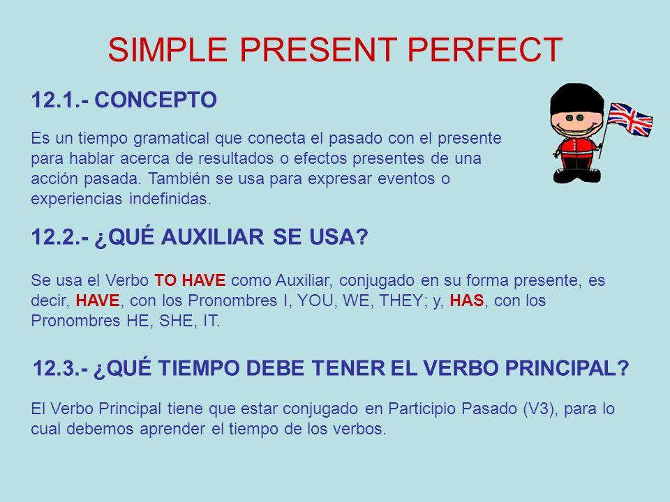 SIMPLE PRESENT PERFECT Es un tiempo gramatical que conecta el pasado con el presente para hablar acerca de resultados o efectos presentes de una acció