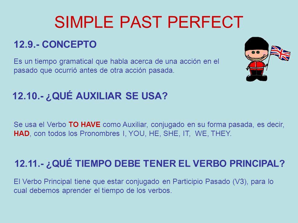 SIMPLE PAST PERFECT Es un tiempo gramatical que habla acerca de una acción en el pasado que ocurrió antes de otra acción pasada. 12.10.- ¿QUÉ AUXILIAR