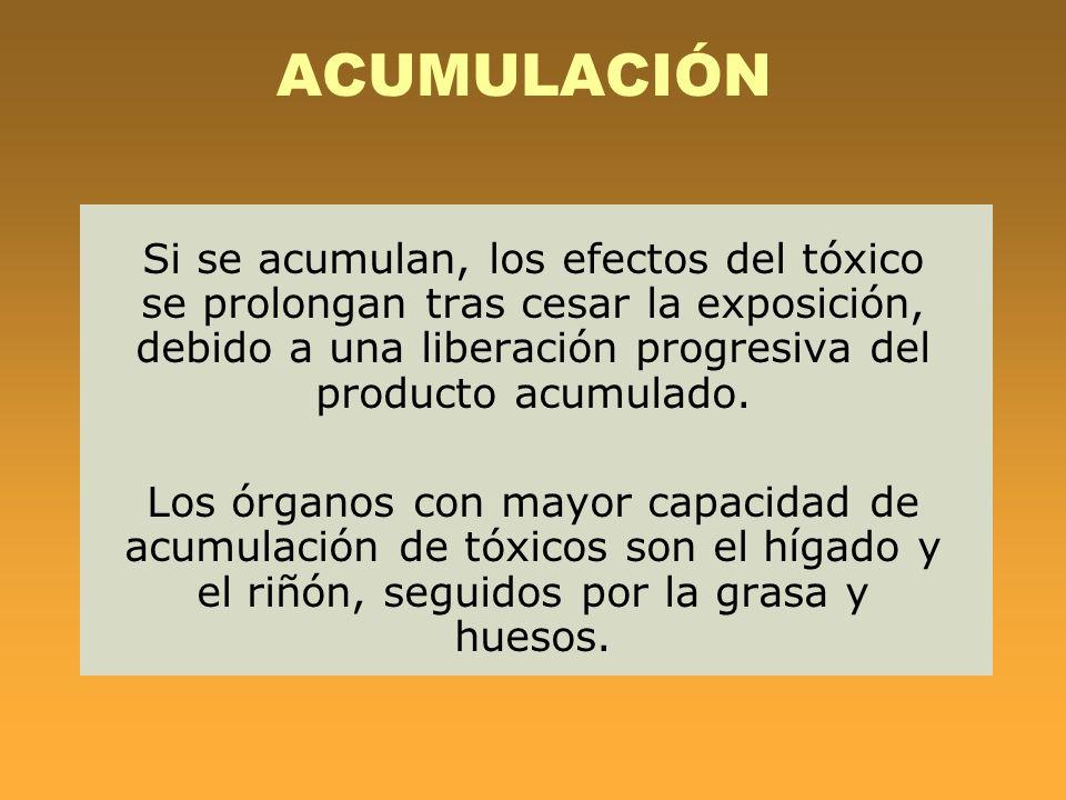 ACUMULACIÓN Si se acumulan, los efectos del tóxico se prolongan tras cesar la exposición, debido a una liberación progresiva del producto acumulado. L