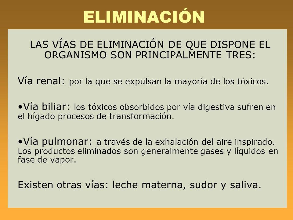ELIMINACIÓN LAS VÍAS DE ELIMINACIÓN DE QUE DISPONE EL ORGANISMO SON PRINCIPALMENTE TRES: Vía renal: por la que se expulsan la mayoría de los tóxicos.