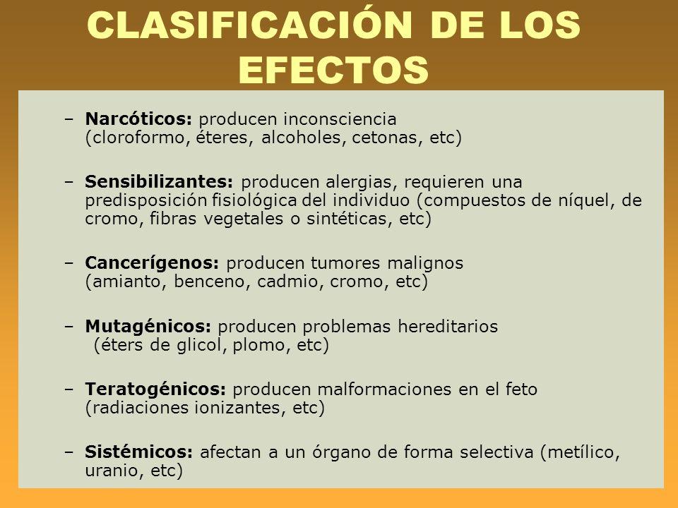 CLASIFICACIÓN DE LOS EFECTOS –Narcóticos: producen inconsciencia (cloroformo, éteres, alcoholes, cetonas, etc) –Sensibilizantes: producen alergias, re