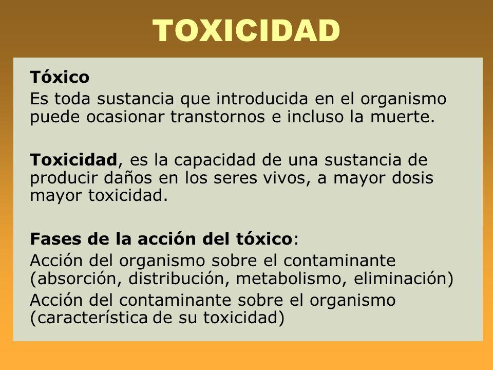 ETAPAS DE UN TÓXICO EN EL ORGANISMO Una vez que los tóxicos han penetrado en el organismo, se suceden los siguientes procesos: Absorción Distribución y Transporte Acumulación Metabolismo Eliminación