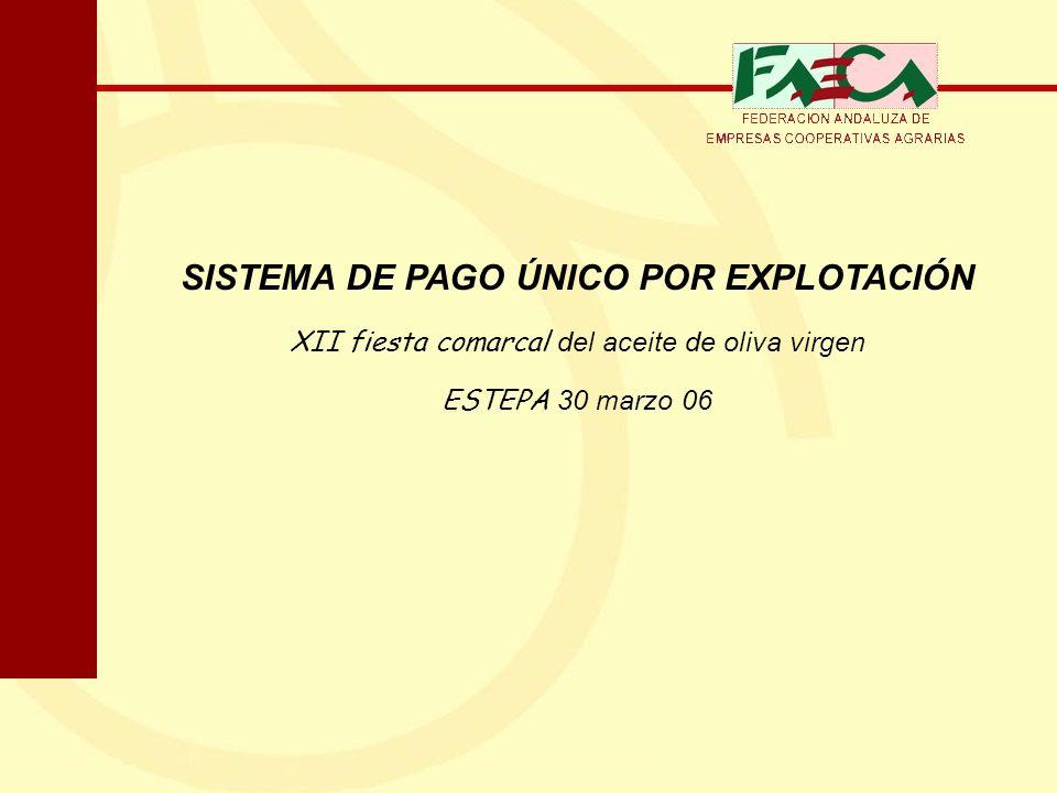 SISTEMA DE PAGO ÚNICO POR EXPLOTACIÓN XII fiesta comarcal del aceite de oliva virgen ESTEPA 30 marzo 06