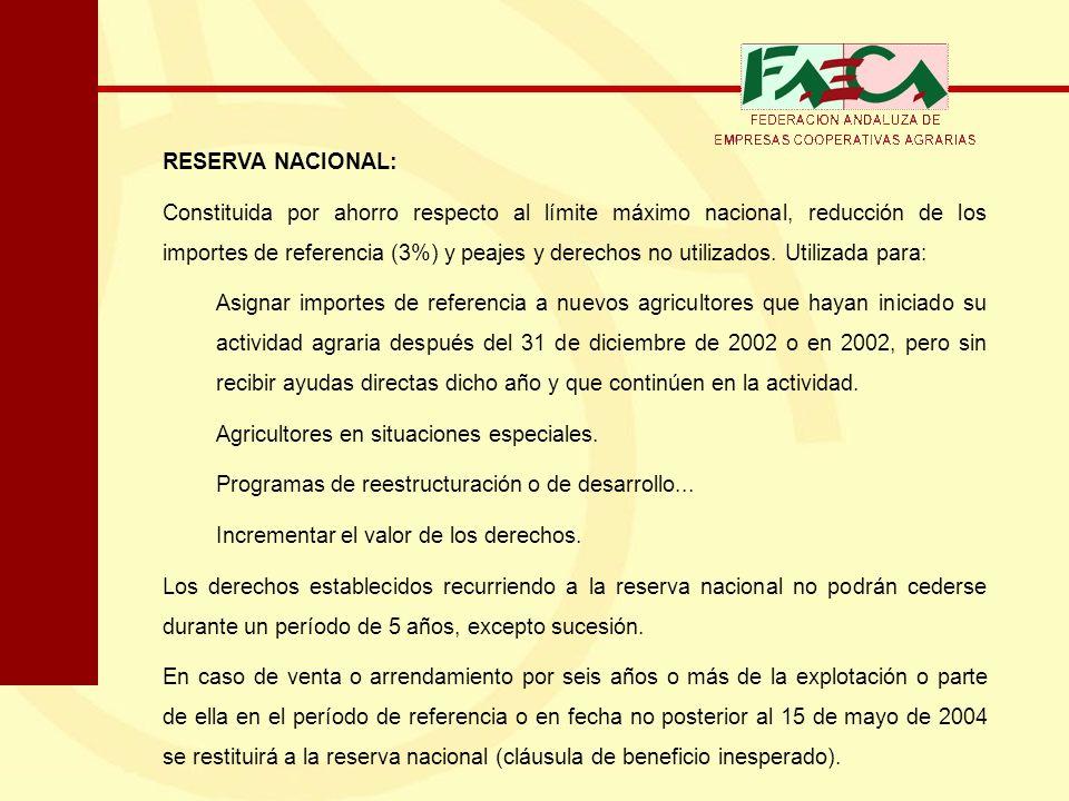 RESERVA NACIONAL: Constituida por ahorro respecto al límite máximo nacional, reducción de los importes de referencia (3%) y peajes y derechos no utili