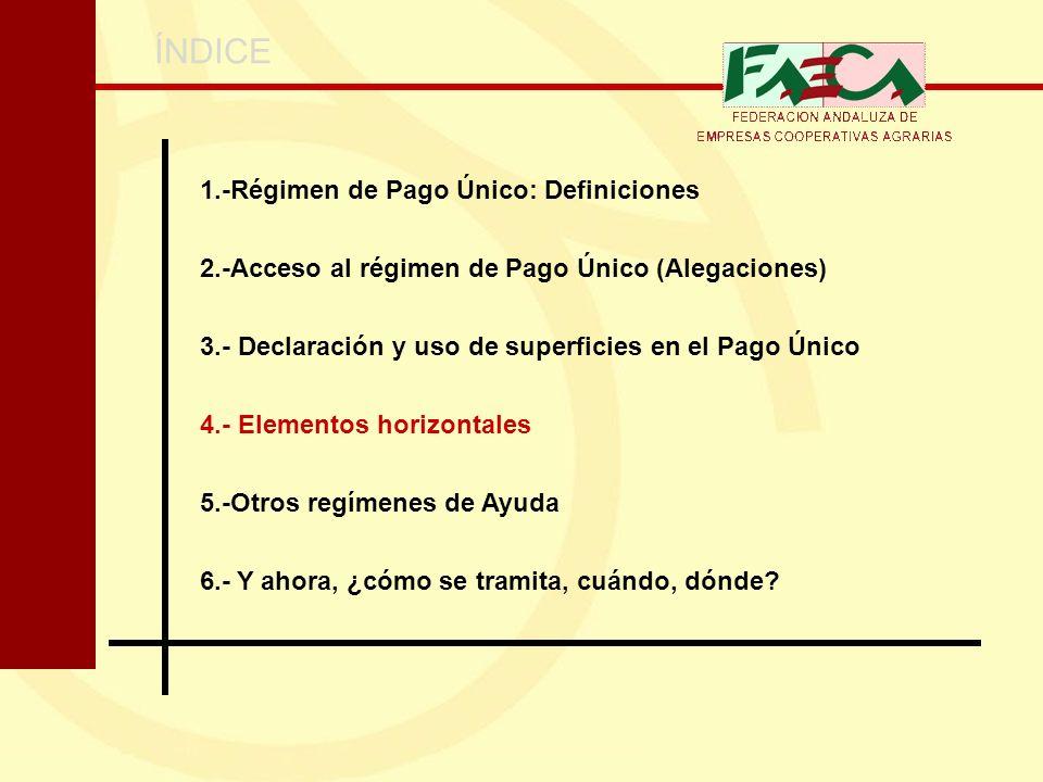 ÍNDICE 1.-Régimen de Pago Único: Definiciones 2.-Acceso al régimen de Pago Único (Alegaciones) 3.- Declaración y uso de superficies en el Pago Único 4