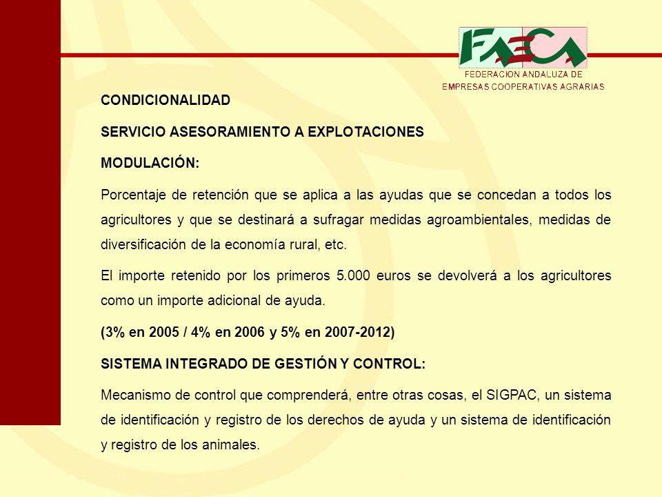 CONDICIONALIDAD SERVICIO ASESORAMIENTO A EXPLOTACIONES MODULACIÓN: Porcentaje de retención que se aplica a las ayudas que se concedan a todos los agri