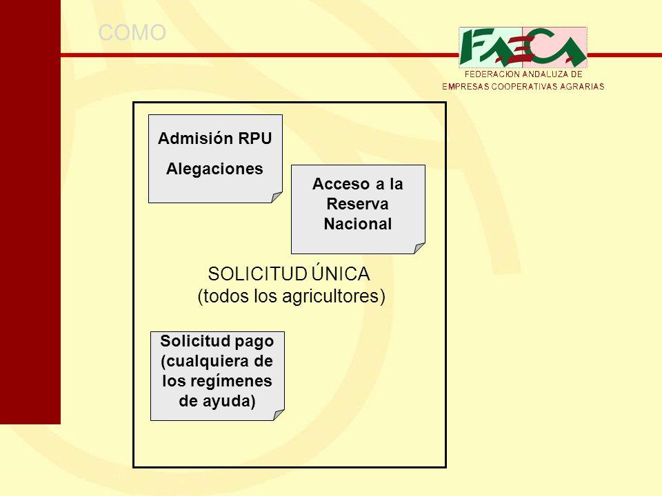 SOLICITUD ÚNICA (todos los agricultores) COMO Admisión RPU Alegaciones Acceso a la Reserva Nacional Solicitud pago (cualquiera de los regímenes de ayu