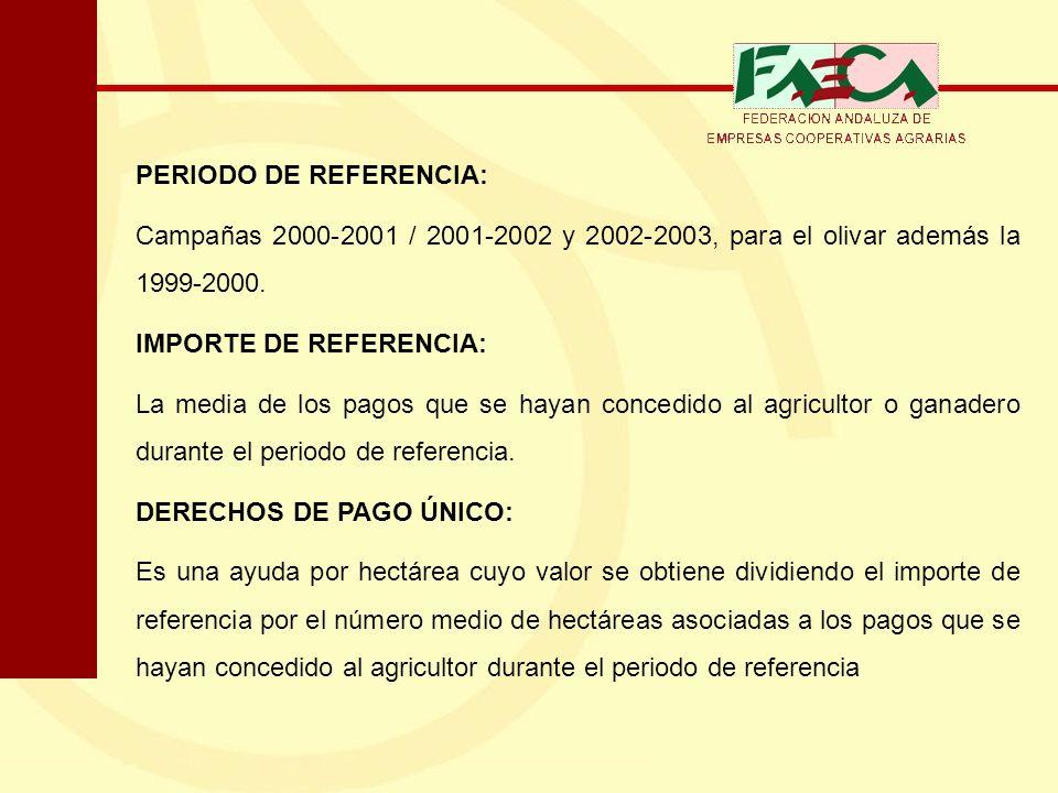 PERIODO DE REFERENCIA: Campañas 2000-2001 / 2001-2002 y 2002-2003, para el olivar además la 1999-2000. IMPORTE DE REFERENCIA: La media de los pagos qu