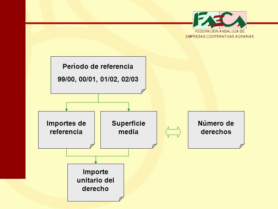 Período de referencia 99/00, 00/01, 01/02, 02/03 Importes de referencia Superficie media Número de derechos Importe unitario del derecho
