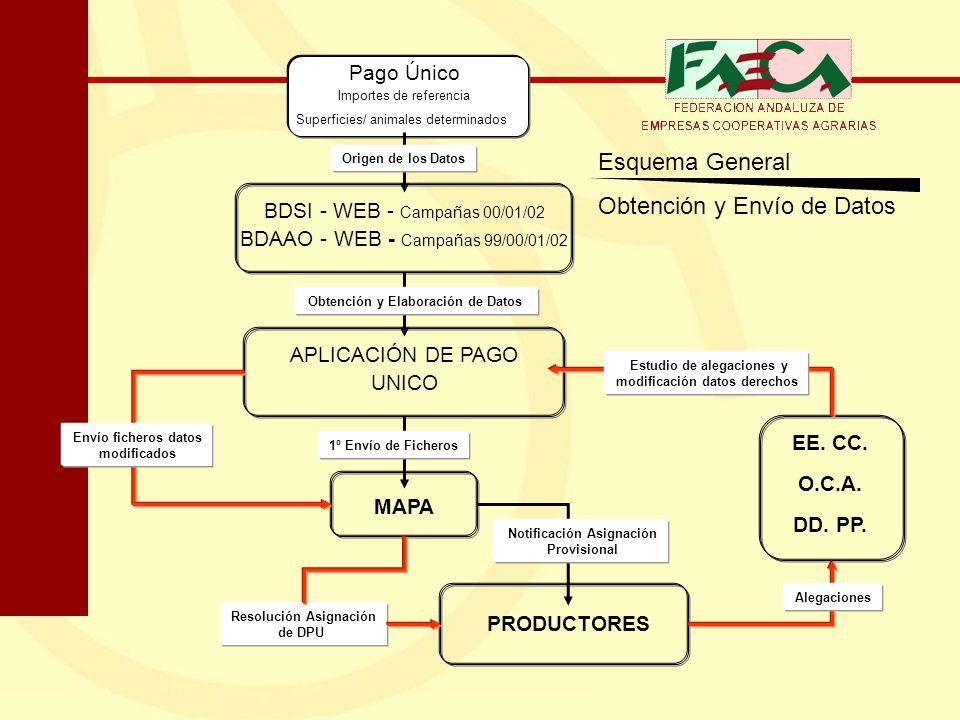 Esquema General Obtención y Envío de Datos Pago Único Importes de referencia Superficies/ animales determinados BDSI - WEB - Campañas 00/01/02 BDAAO -