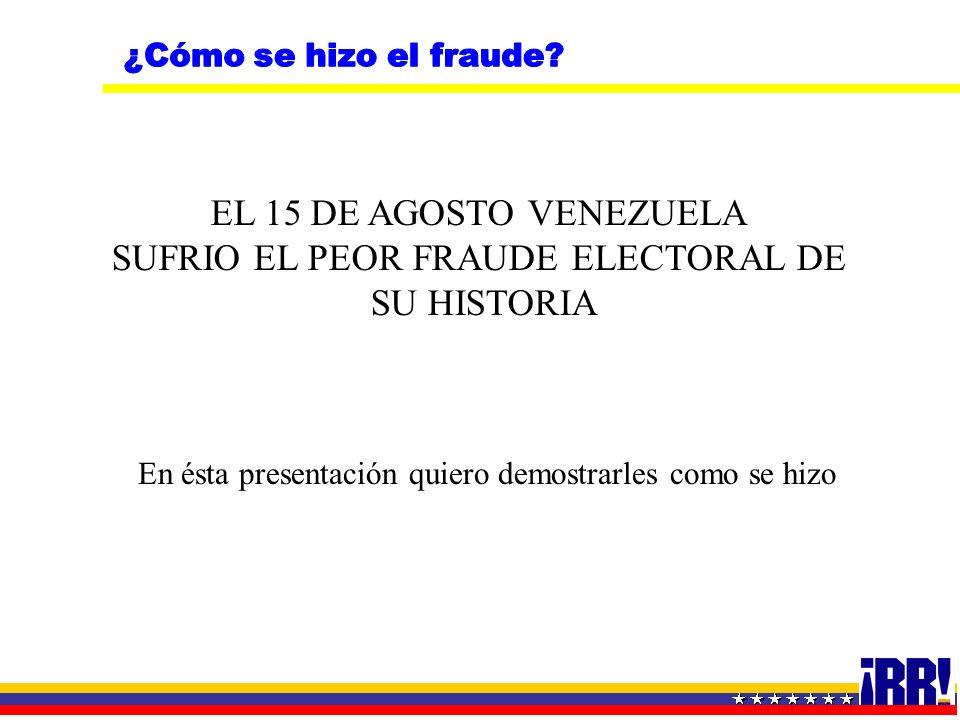 EL 15 DE AGOSTO VENEZUELA SUFRIO EL PEOR FRAUDE ELECTORAL DE SU HISTORIA En ésta presentación quiero demostrarles como se hizo