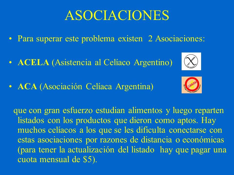 ASOCIACIONES Para superar este problema existen 2 Asociaciones: ACELA (Asistencia al Celíaco Argentino) ACA (Asociación Celíaca Argentina) que con gra