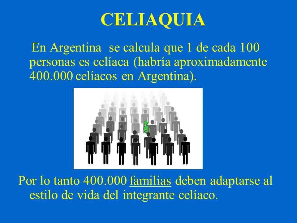 CELIAQUIA En Argentina se calcula que 1 de cada 100 personas es celíaca (habría aproximadamente 400.000 celíacos en Argentina). Por lo tanto 400.000 f