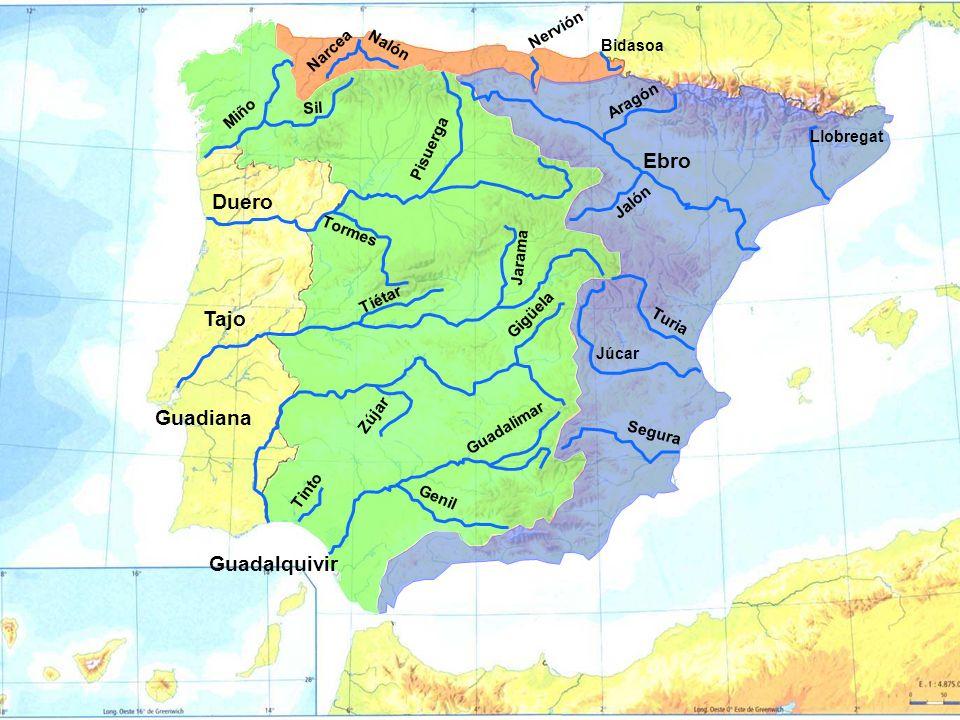 Ebro Aragón Llobregat Turia Júcar Segura Duero Tormes Tajo Guadiana Guadalquivir Tinto Miño Bidasoa Nervión Pisuerga Sil Jalón Gigüela Zújar Guadalima