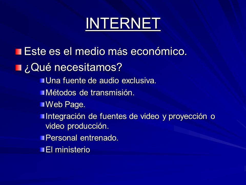 Video Producción Para TV medio mas costoso.Para Internet.