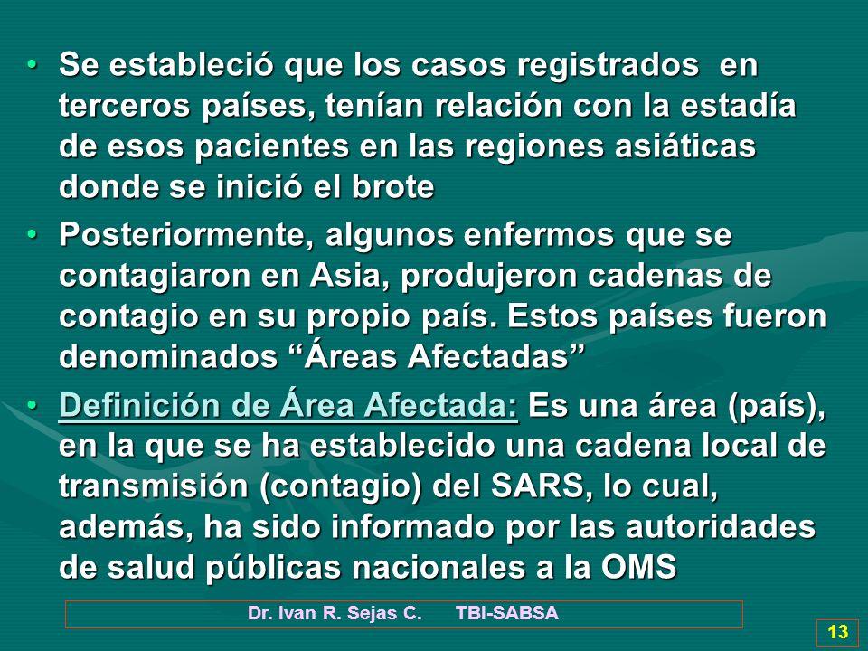 Dr. Ivan R. Sejas C. TBI-SABSA 13 Se estableció que los casos registrados en terceros países, tenían relación con la estadía de esos pacientes en las