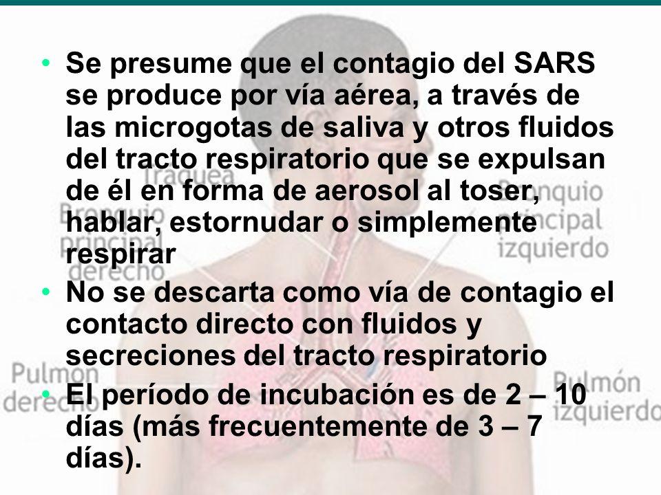 Dr. Ivan R. Sejas C. TBI-SABSA 20 Se presume que el contagio del SARS se produce por vía aérea, a través de las microgotas de saliva y otros fluidos d