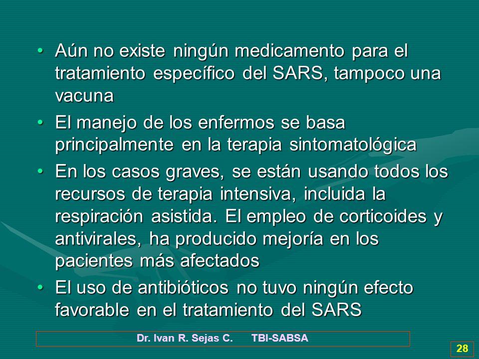 Dr. Ivan R. Sejas C. TBI-SABSA 28 Aún no existe ningún medicamento para el tratamiento específico del SARS, tampoco una vacunaAún no existe ningún med
