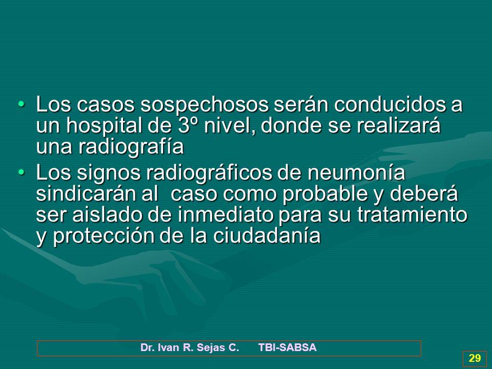 Dr. Ivan R. Sejas C. TBI-SABSA 29 Los casos sospechosos serán conducidos a un hospital de 3º nivel, donde se realizará una radiografíaLos casos sospec