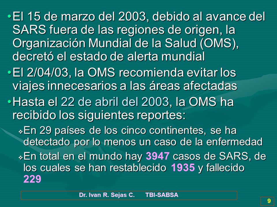 Dr. Ivan R. Sejas C. TBI-SABSA 9 El 15 de marzo del 2003, debido al avance del SARS fuera de las regiones de origen, la Organización Mundial de la Sal