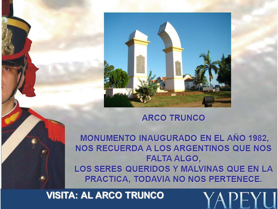 ARCO TRUNCO MONUMENTO INAUGURADO EN EL AÑO 1982, MONUMENTO INAUGURADO EN EL AÑO 1982, NOS RECUERDA A LOS ARGENTINOS QUE NOS FALTA ALGO, LOS SERES QUERIDOS Y MALVINAS QUE EN LA PRACTICA, TODAVIA NO NOS PERTENECE.