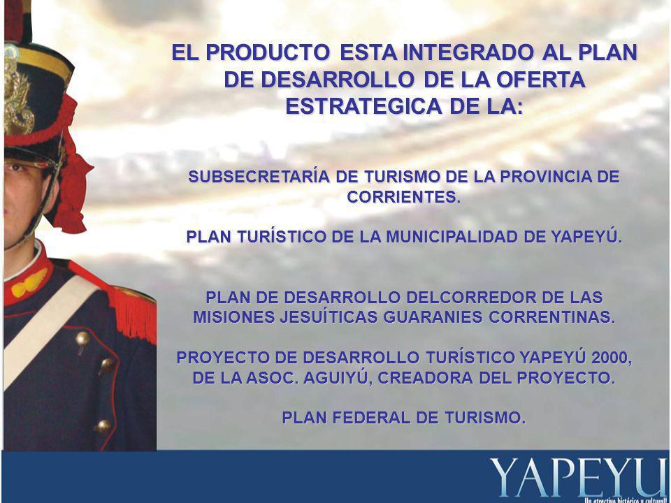 EL PRODUCTO ESTA INTEGRADO AL PLAN DE DESARROLLO DE LA OFERTA ESTRATEGICA DE LA: SUBSECRETARÍA DE TURISMO DE LA PROVINCIA DE CORRIENTES.