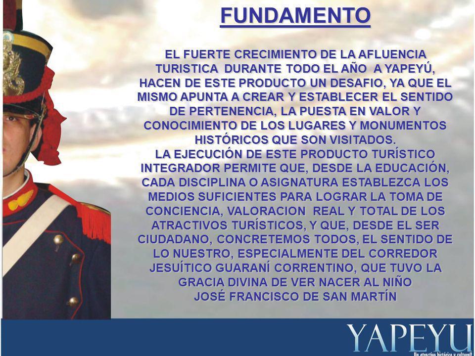 OBJETIVOS CONOCER LAS CARACTERISTICAS ELEMENTALES DEL CORREDOR JESUÍTICO GUARANÍ CORRENTINO, ESPECIELMENTE A YAPEYÚ COMO ATRACTIVO TURÍSTICO HISTÓRICO-CULTURAL.CONOCER LAS CARACTERISTICAS ELEMENTALES DEL CORREDOR JESUÍTICO GUARANÍ CORRENTINO, ESPECIELMENTE A YAPEYÚ COMO ATRACTIVO TURÍSTICO HISTÓRICO-CULTURAL.