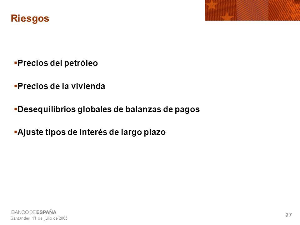 Santander, 11 de julio de 2005 27 Riesgos Precios del petróleo Precios de la vivienda Desequilibrios globales de balanzas de pagos Ajuste tipos de interés de largo plazo