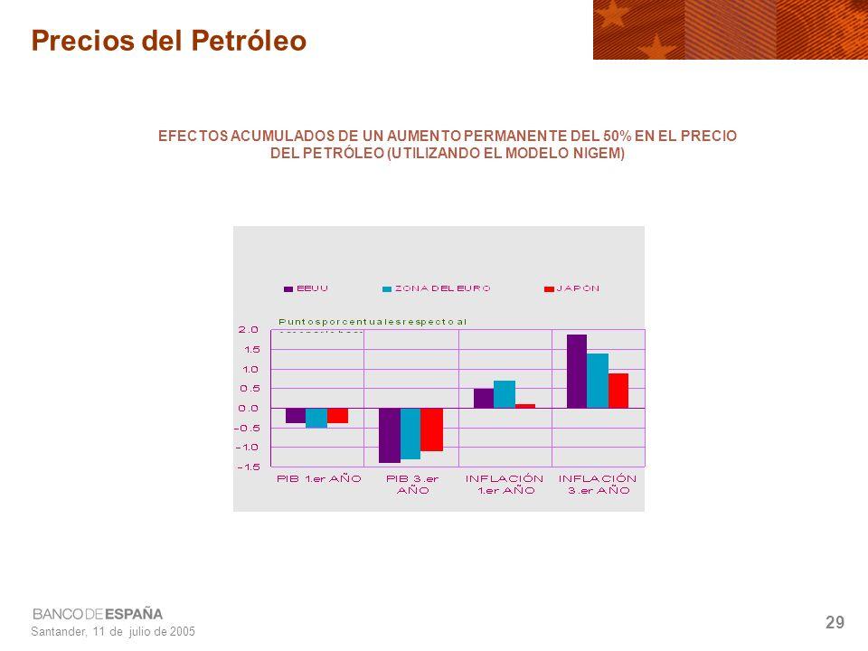 Santander, 11 de julio de 2005 29 Precios del Petróleo EFECTOS ACUMULADOS DE UN AUMENTO PERMANENTE DEL 50% EN EL PRECIO DEL PETRÓLEO (UTILIZANDO EL MODELO NIGEM)