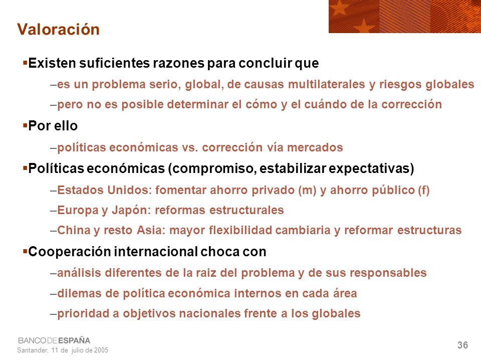 Santander, 11 de julio de 2005 36 Valoración Existen suficientes razones para concluir que –es un problema serio, global, de causas multilaterales y riesgos globales –pero no es posible determinar el cómo y el cuándo de la corrección Por ello –políticas económicas vs.