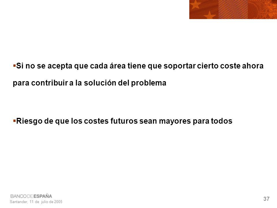 Santander, 11 de julio de 2005 37 Si no se acepta que cada área tiene que soportar cierto coste ahora para contribuir a la solución del problema Riesgo de que los costes futuros sean mayores para todos