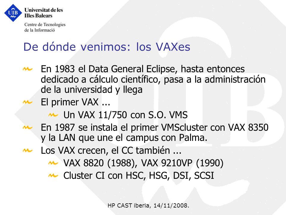 HP CAST iberia, 14/11/2008. De dónde venimos: los VAXes En 1983 el Data General Eclipse, hasta entonces dedicado a cálculo científico, pasa a la admin