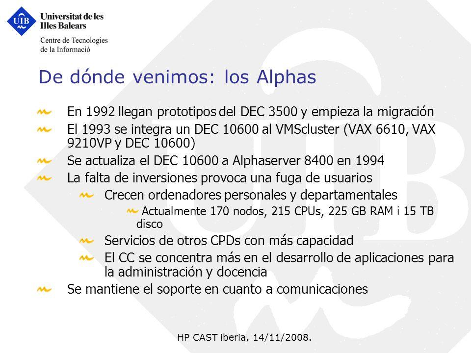 HP CAST iberia, 14/11/2008. De dónde venimos: los Alphas En 1992 llegan prototipos del DEC 3500 y empieza la migración El 1993 se integra un DEC 10600